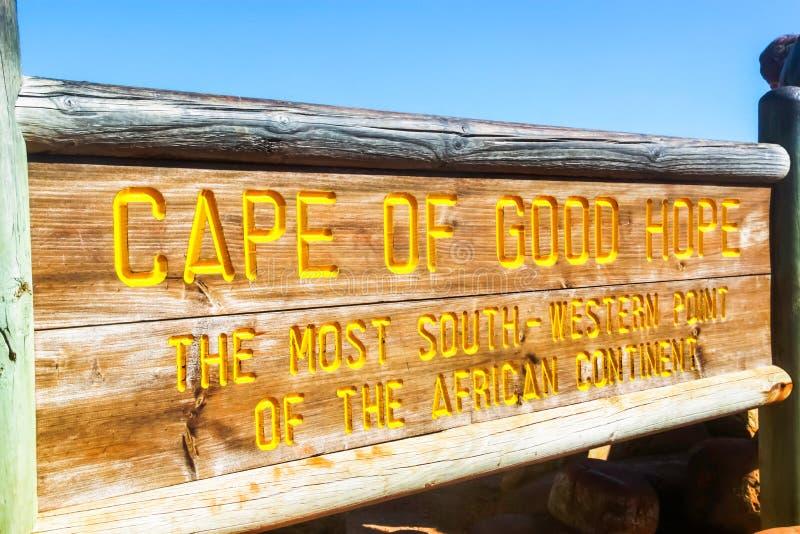 L'Afrique du Sud - 2011 : Enseigne du Cap de Bonne-Espérance photographie stock libre de droits