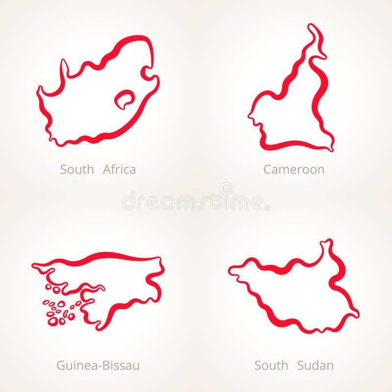 L'Afrique du Sud, le Cameroun, la Guinée-Bissau et les sud Soudan - carte d'ensemble illustration libre de droits