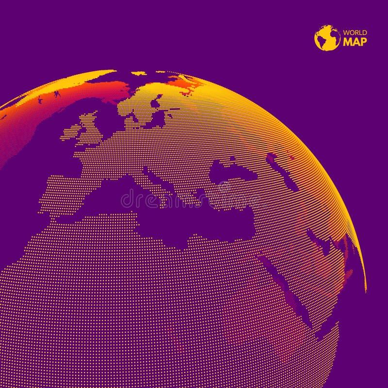 l'Afrique et l'Europe METTEZ ? LA TERRE LE GLOBE Concept de vente d'affaires globales Style pointill? Concevez pour l'?ducation,  illustration de vecteur