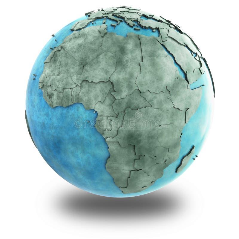 L'Afrique sur la terre de marbre de planète illustration stock