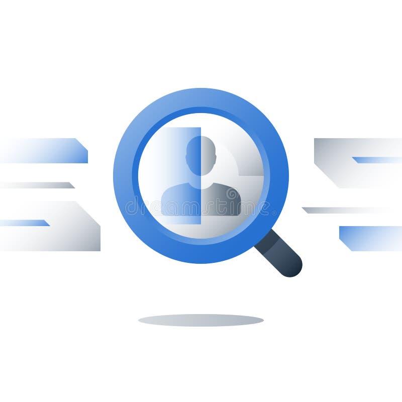 L'agence de recrutement, ressources humaines, considèrent le candidat, le concept d'emploi, la loupe et la personne, demandeur de illustration stock