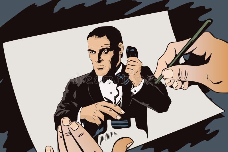 L'agent secret invite le téléphone Les gens dans le rétro style illustration libre de droits