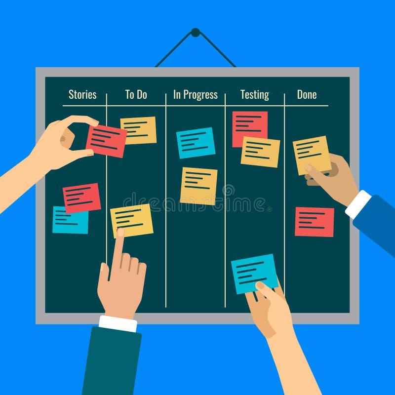 L'agilité est atteinte par la supervision des travaux efficace avec l'aide du conseil illustration stock