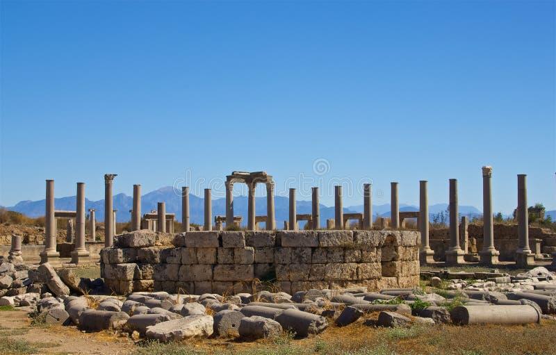 L'agora dans Perge Turquie image stock