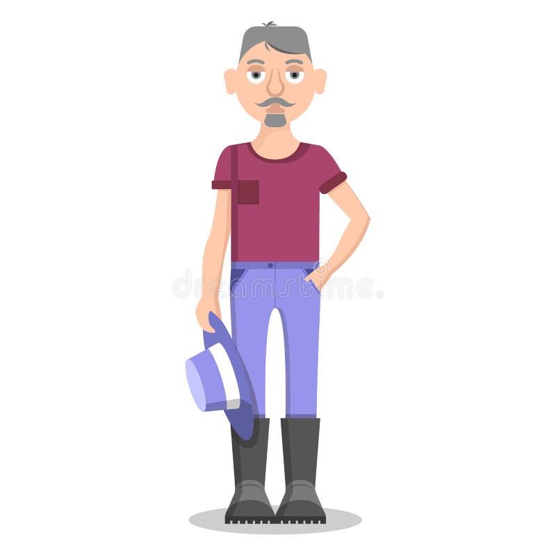 L'agricoltore senior Isolated su bianco tiene il cappello blu illustrazione di stock