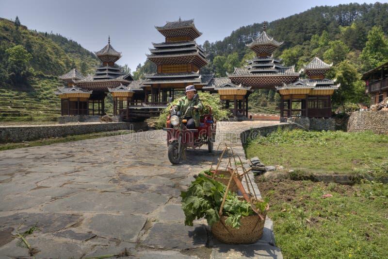 L'agriculteur chinois porte l'herbe sur le scooter de cargaison, près du bridg couvert photos libres de droits
