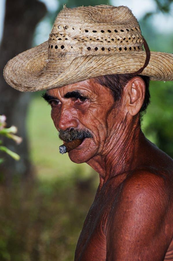 L'agriculteur cubain avec le chapeau fume le cigare dans Vinales, Cuba. images libres de droits