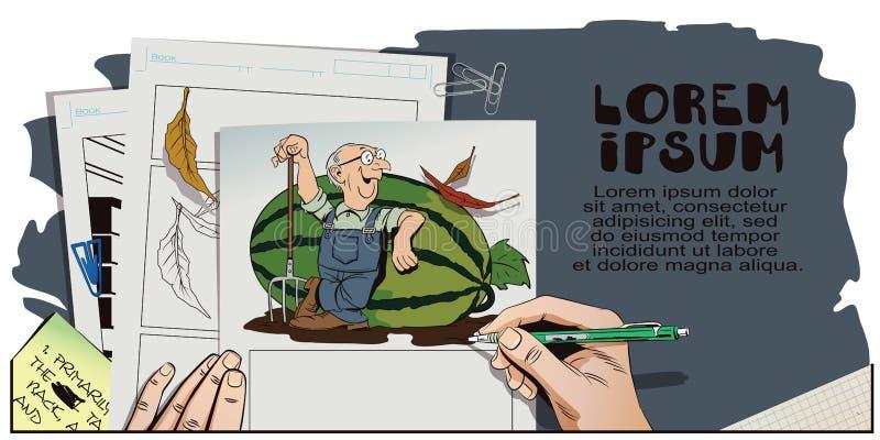 L'agriculteur fier se penche sur une pastèque énorme illustration stock