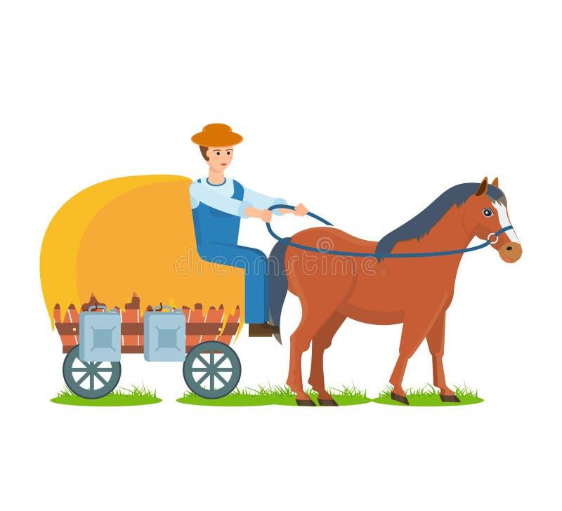 L'agriculteur monte le cheval sur le chariot, le métier favorable à l'environnement de ferme illustration libre de droits