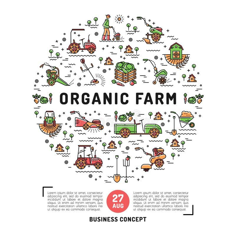 L'agriculture et la conception fraîche de ferme organique cardent le calibre illustration libre de droits