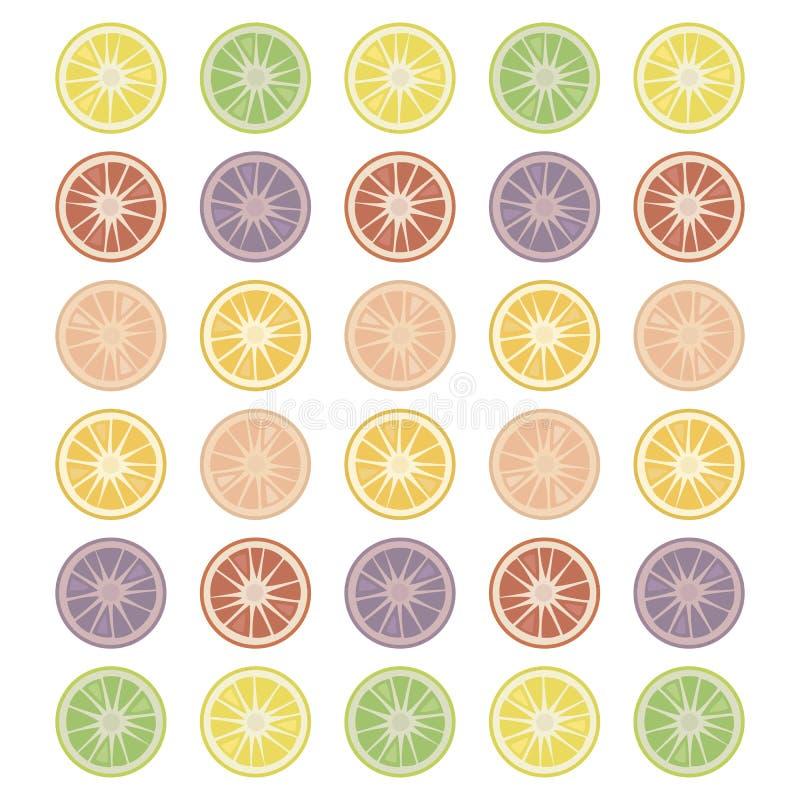 L'agrume rond découpe les objets en tranches d'isolement simples sur une liste rouge de fruit de fond de vert multicolore blanc d illustration de vecteur