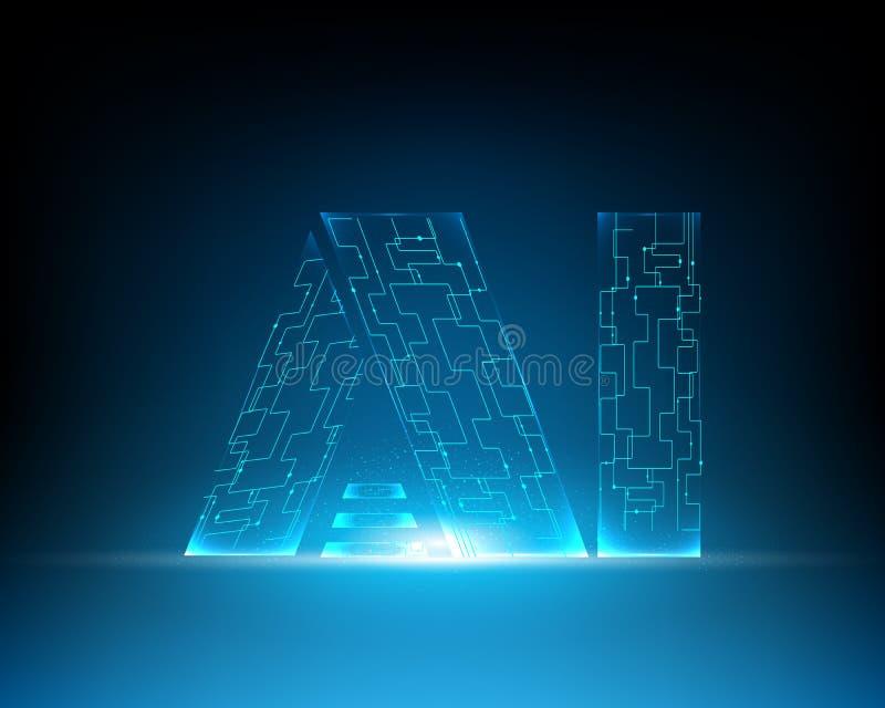 L'AI marquent avec des lettres l'intelligence artificielle et les grandes données Machin de Digital illustration stock