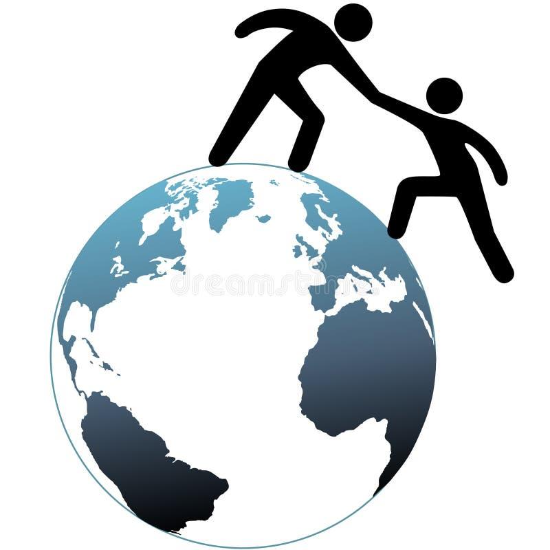 L'aide atteignent dépanne l'ami vers le haut du dessus du monde illustration libre de droits