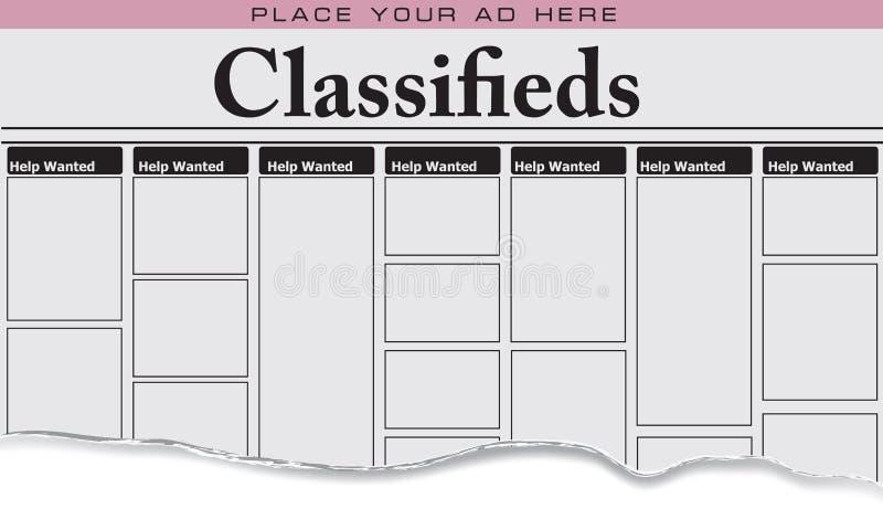 L'aide de classifieds de journal a voulu illustration libre de droits