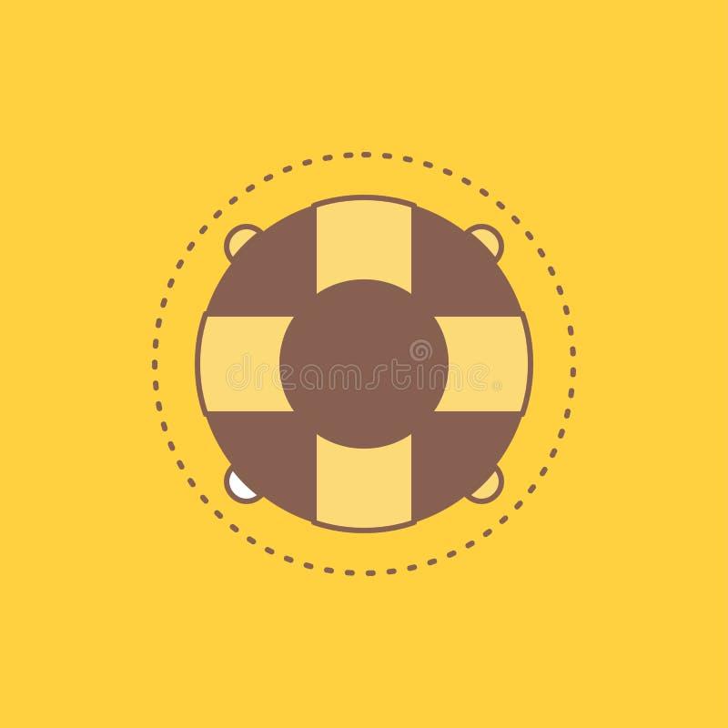 L'aide, la vie, bouée de sauvetage, sauveteur, ligne plate de conservateur a rempli icône Beau bouton de logo au-dessus de fond j illustration libre de droits
