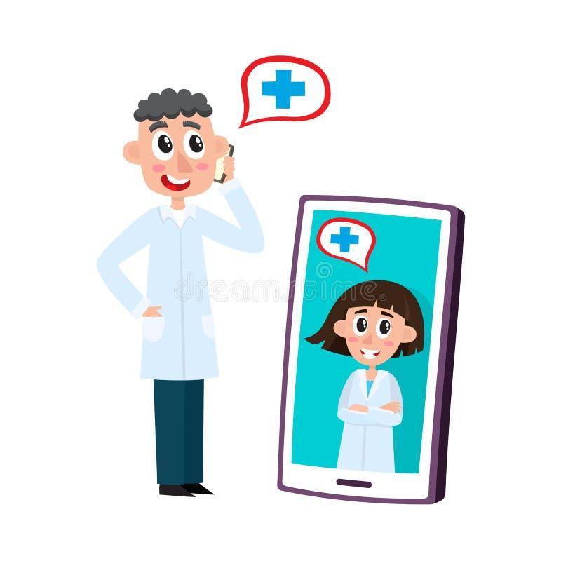 L'aide médicale à distance a placé avec des médecins conseillant des patients sur le téléphone portable et la vidéo sur le smartp illustration de vecteur