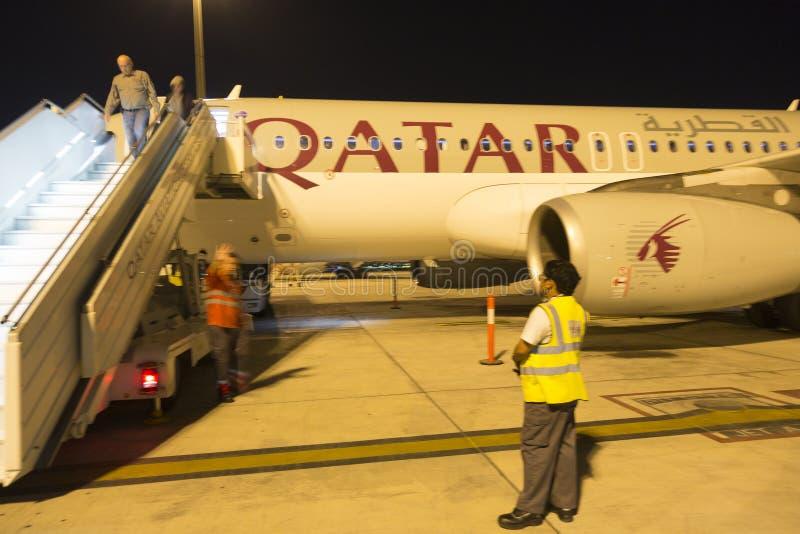 L'Airbus A350 a débarqué dans Doha, Qatar photo stock