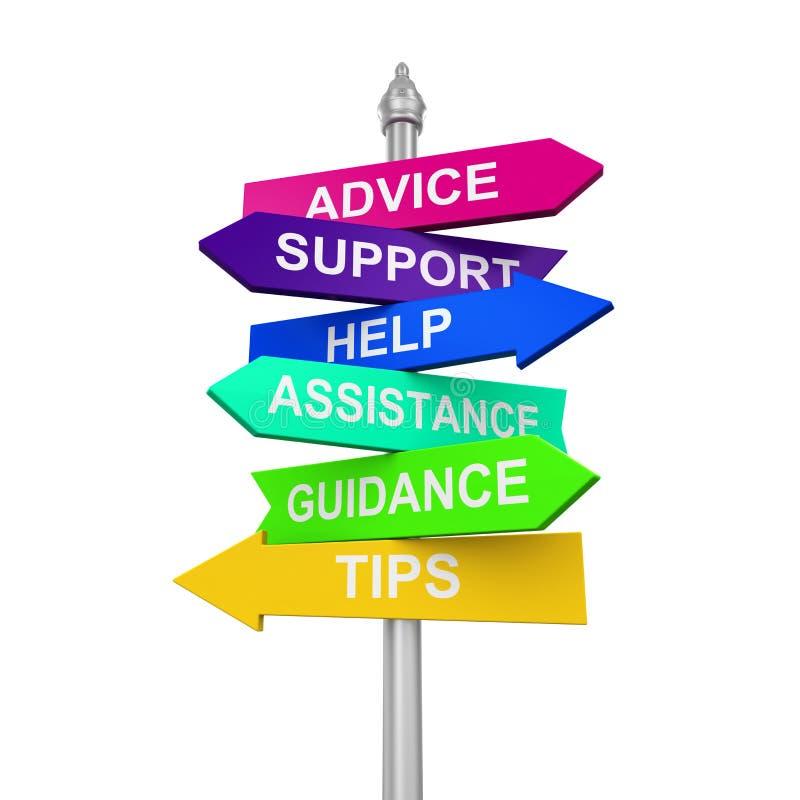 L'aiuto di sostegno delle direzioni del segno fornisce di punta l'assistenza di orientamento di consiglio royalty illustrazione gratis