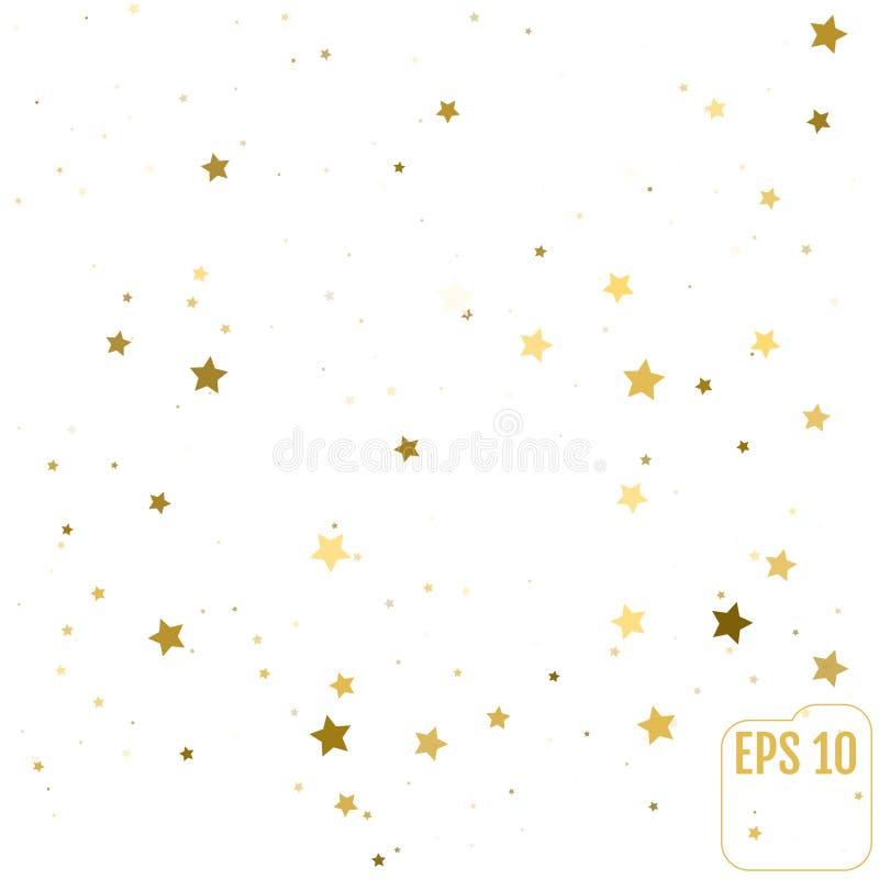 L'or aléatoire de dispersion tient le premier rôle des confettis sur le fond blanc Conception E illustration de vecteur
