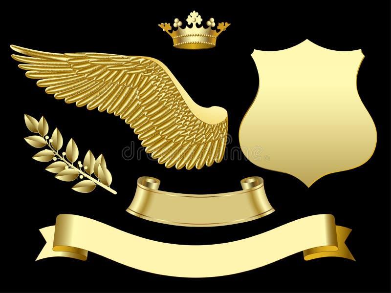 L'ala, la corona, il segno, il nastro e l'alloro dell'oro si ramificano illustrazione di stock