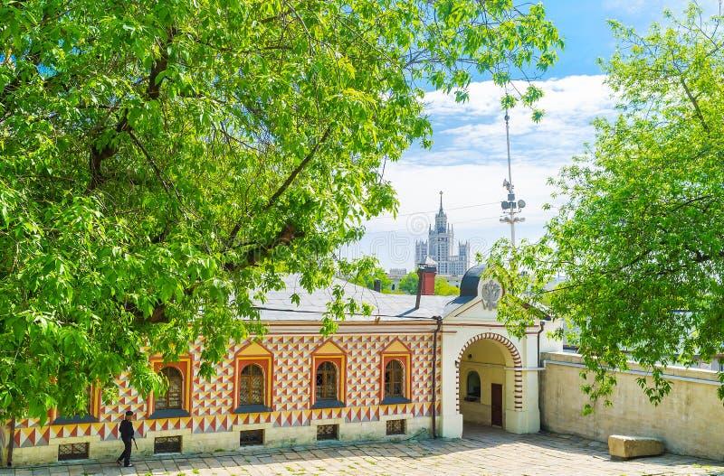 L'ala laterale del palazzo del boiardo di Romanov fotografie stock