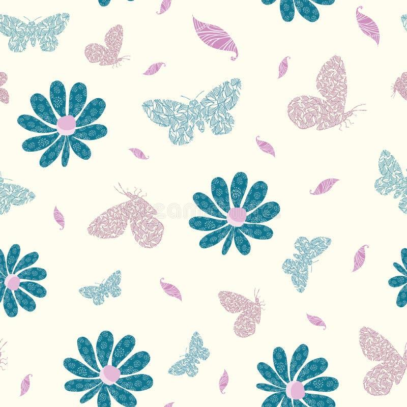 L'ala moderna ha strutturato le farfalle, i fiori e le foglie in blu, in rosa ed in porpora Modello senza cuciture di vettore su  illustrazione di stock