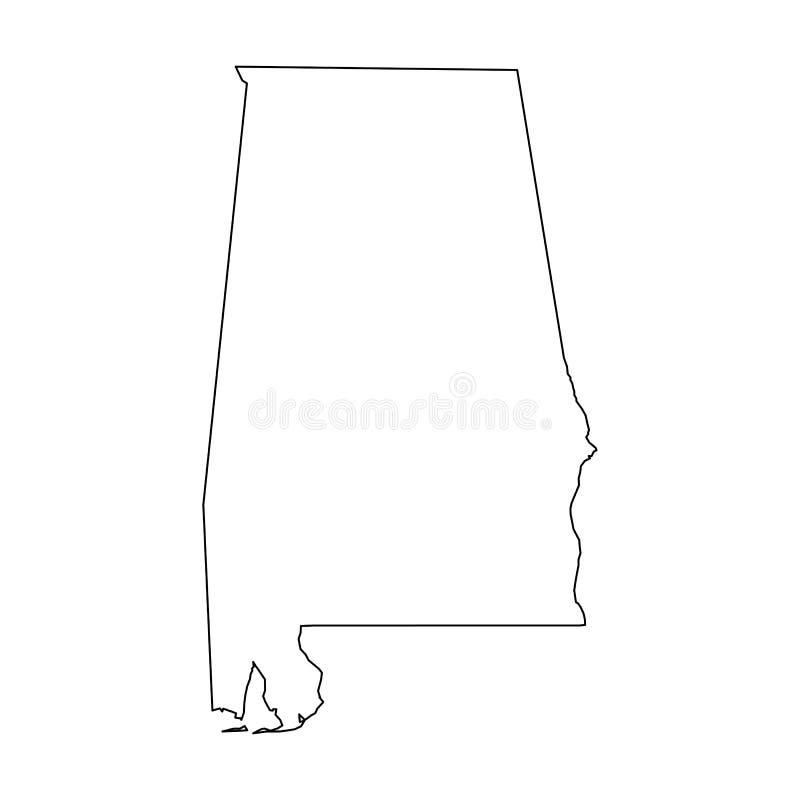 L'Alabama, état des Etats-Unis - carte noire solide d'ensemble de secteur de pays Illustration plate simple de vecteur illustration de vecteur