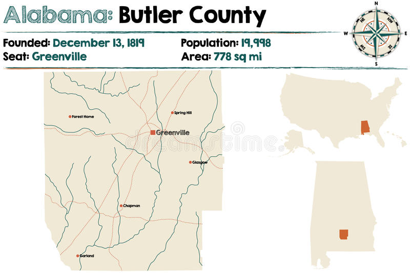 L'Alabama : Le comté de Butler illustration libre de droits