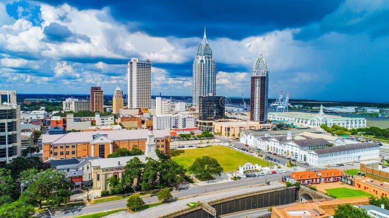 L'Alabama mobile del centro AL Skyline Aerial fotografia stock