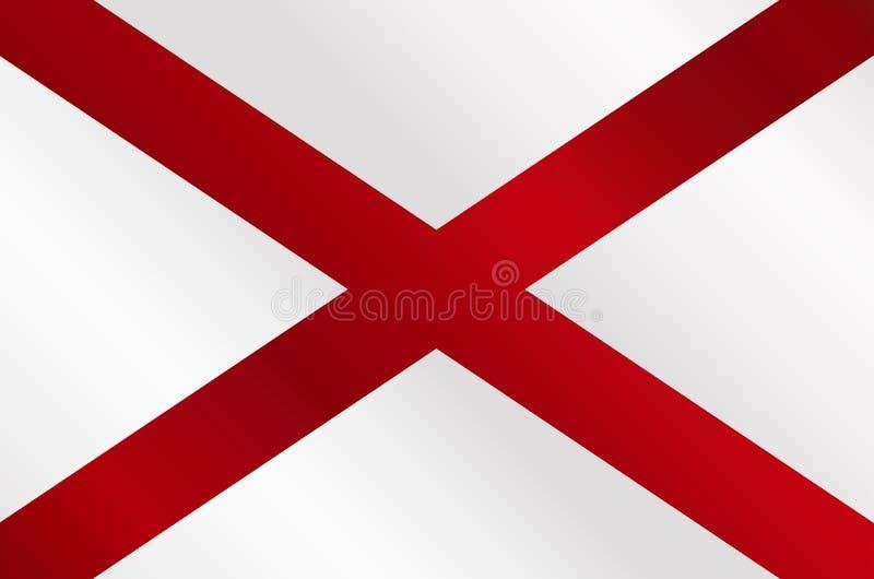 L'Alabama sazia la lucentezza della bandiera illustrazione vettoriale