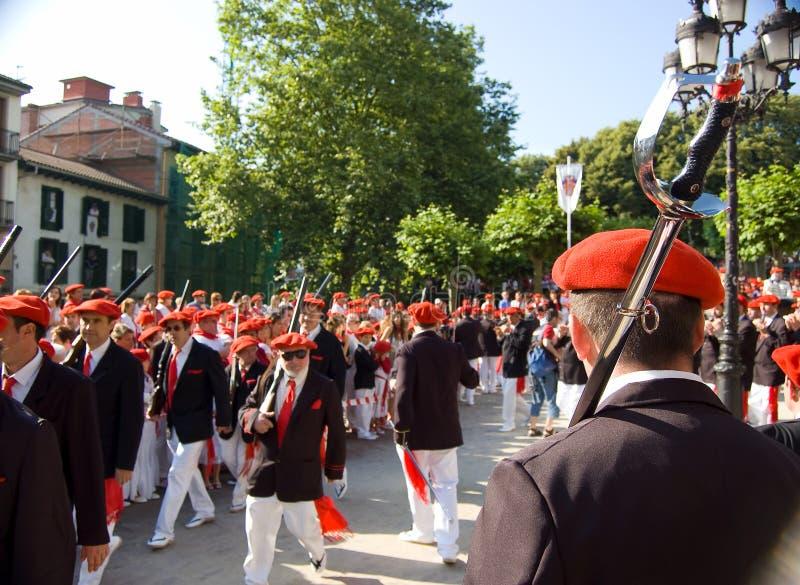 L'Alarde de San Marcial à Irun Guipuzcoa, Espagne photo stock