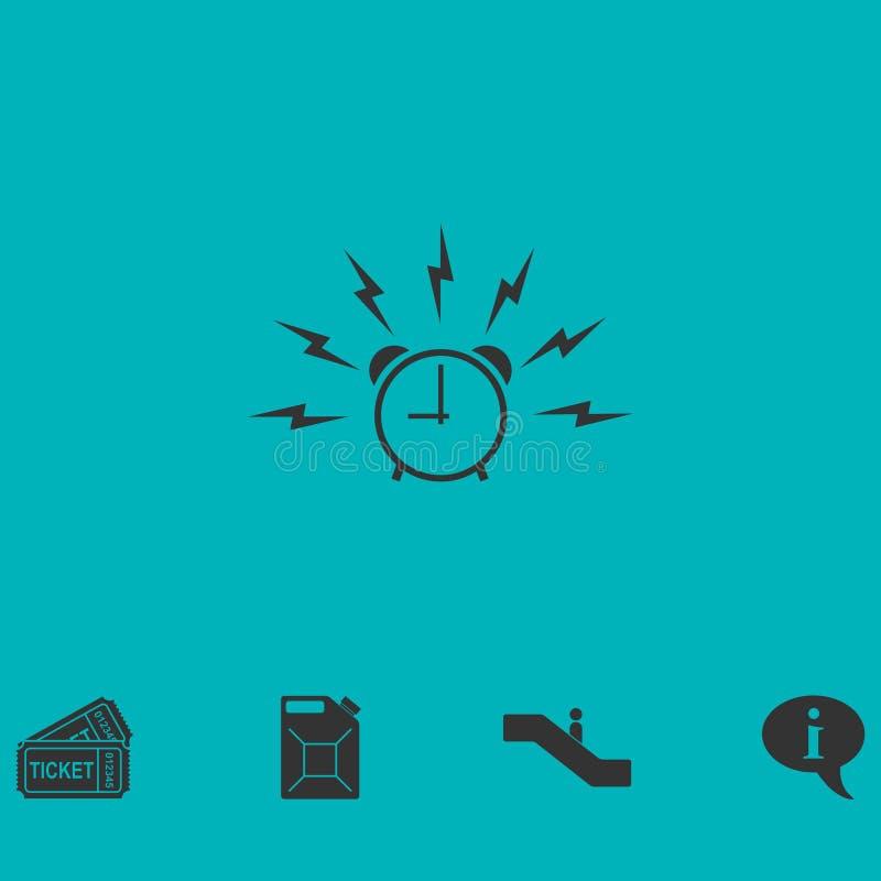 L'alarme réveillent l'icône de temps à plat illustration stock