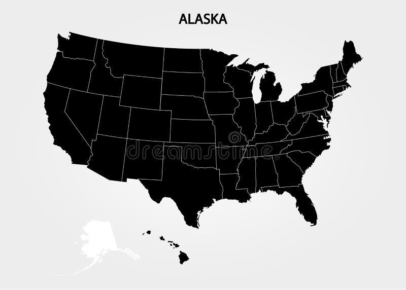 L'Alaska - stato USA Stati del territorio dell'America su fondo grigio Stato separato Illustrazione di vettore illustrazione vettoriale