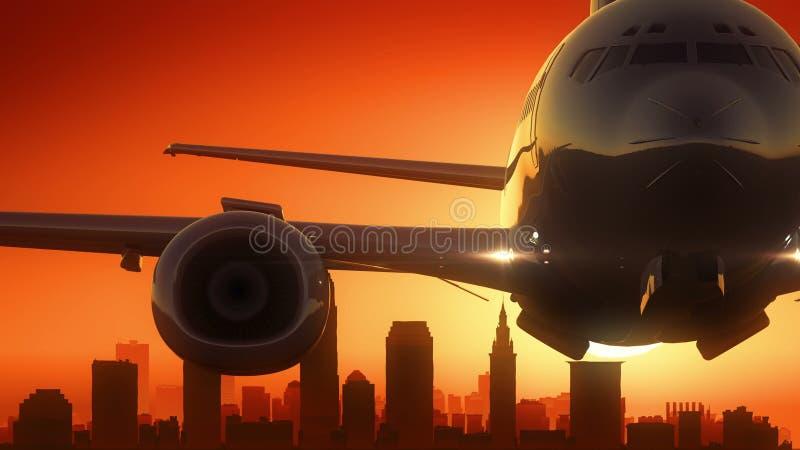 L'alba dell'orizzonte di Cleveland Ohio U.S.A. America decolla royalty illustrazione gratis