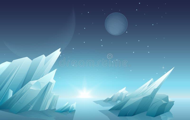 L'alba su un altro paesaggio straniero del pianeta con ghiaccio oscilla, pianeti, stelle al cielo Panorama della natura dello spa royalty illustrazione gratis