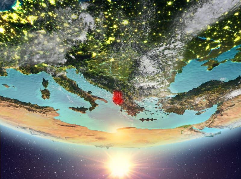 L'Albanie avec le soleil illustration stock