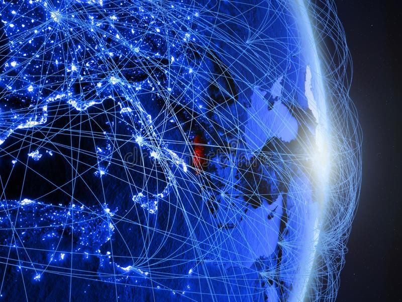 L'Albanie sur la terre numérique bleue bleue photos stock