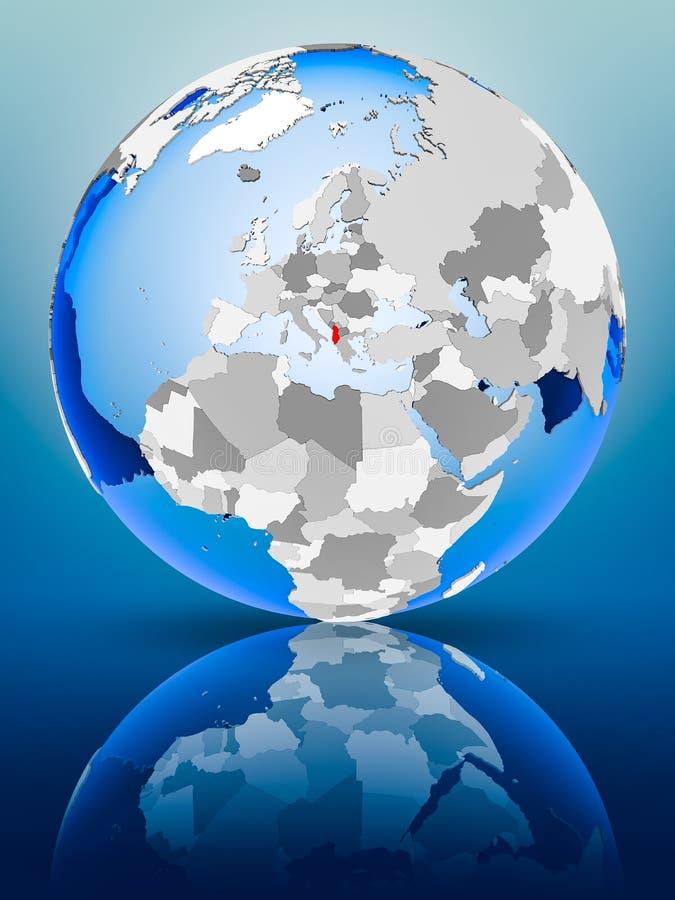 L'Albanie sur le globe illustration libre de droits