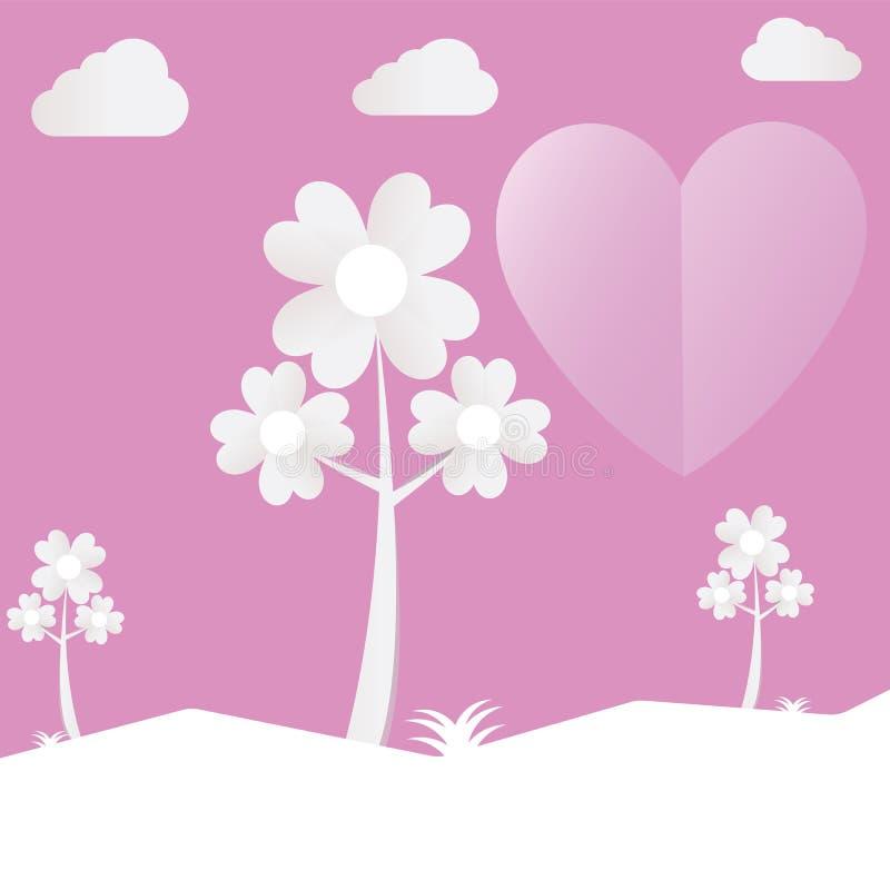 L'albero del cuore ha tagliato il giorno di S. Valentino di carta rosa di amore con le nuvole Vettore royalty illustrazione gratis