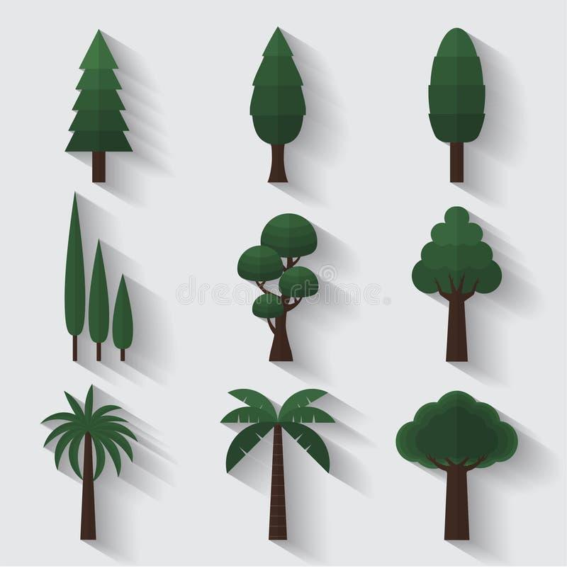 L'albero del giardino degli alberi pianta la progettazione piana delle icone della decorazione illustrazione vettoriale