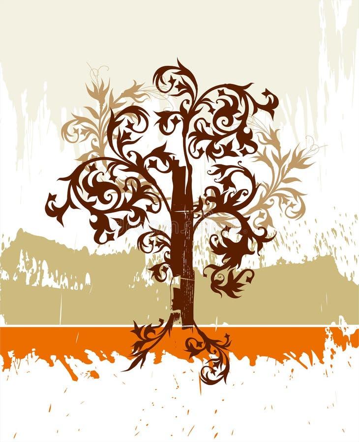 l'albero del grunge fiorisce l'ornamento illustrazione di stock