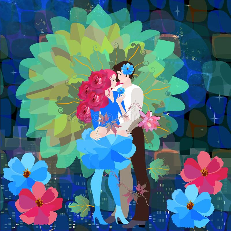 L'albero della vita con un tronco sotto forma di giovane coppia amorosa abbracciante sul fondo stilizzato della città di notte St illustrazione di stock