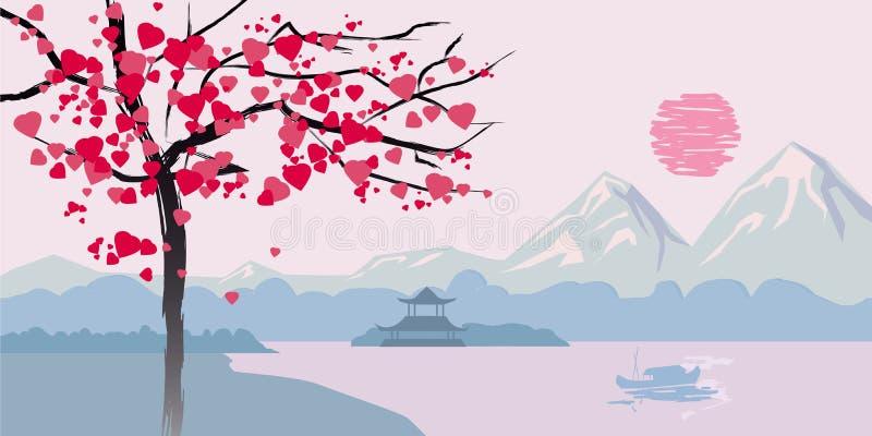 L'albero di fioritura con i cuori sui precedenti della vista sul mare cinese abbellisce royalty illustrazione gratis