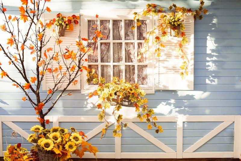 L'albero di Marple con l'arancia lascia davanti alla casa di legno in Flori fotografie stock