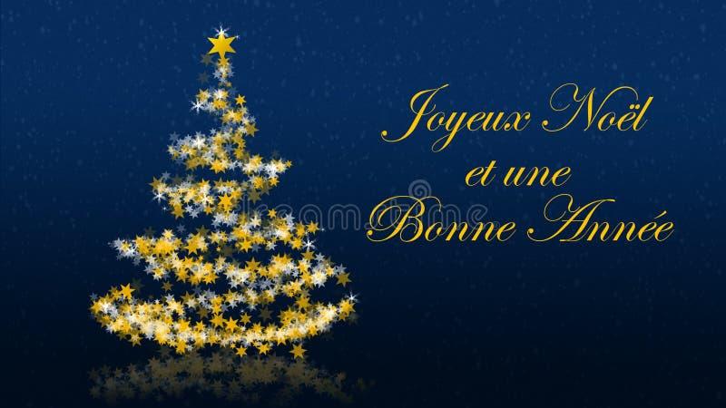 L'albero di Natale con brillare stars su fondo blu, saluti di stagioni del francese illustrazione di stock