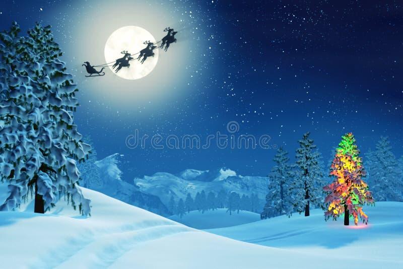 L'albero di Natale e Santa nell'inverno illuminato dalla luna abbelliscono alla notte royalty illustrazione gratis