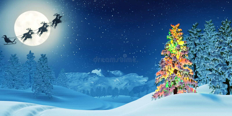 L'albero di Natale e Santa nell'inverno illuminato dalla luna abbelliscono alla notte illustrazione vettoriale