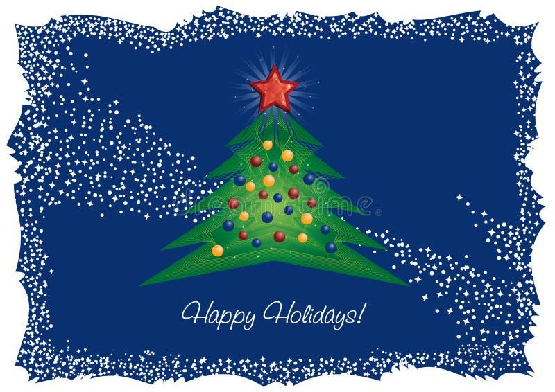 L'albero di Natale ed il diamante star la cartolina d'auguri illustrazione vettoriale