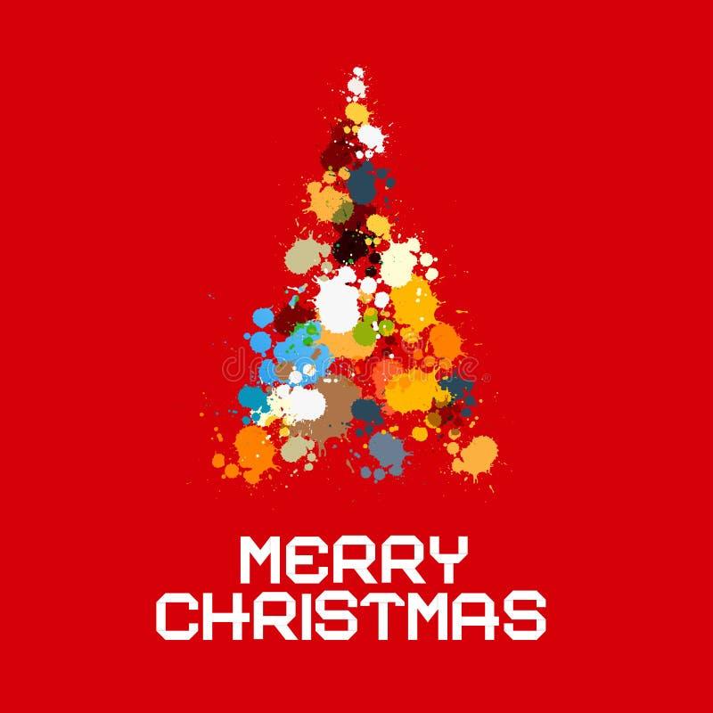 L'albero di Natale fatto da spruzza, macchia su fondo rosso illustrazione vettoriale