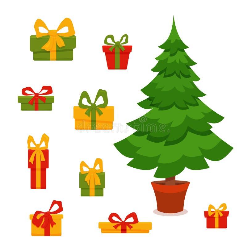 L'albero di Natale ha decorato l'illustrazione di vettore illustrazione vettoriale